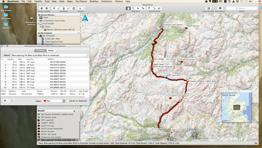 planning a trip and putting in waypoints, bothies and other bits ...