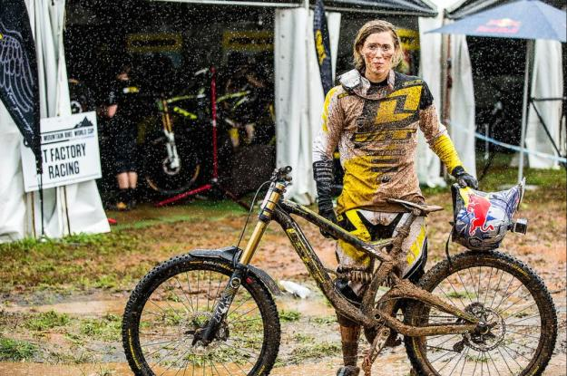 Rachel Atherton with beauty mud pack