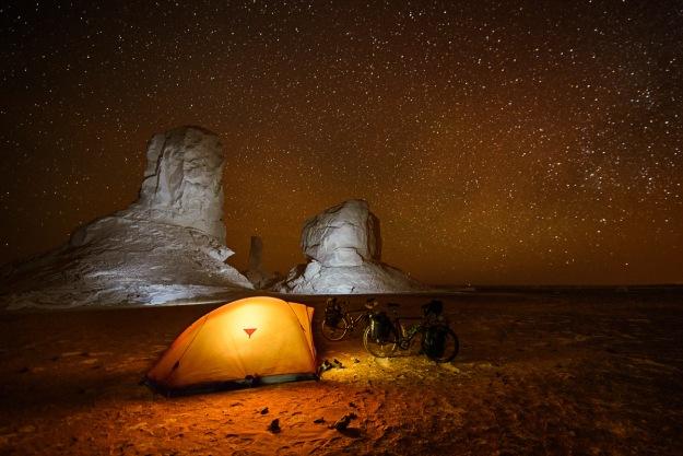 Camping in the Sahara White desert. Egypt