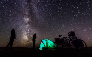 Camping under the stars on the Gobi desert. Mongolia